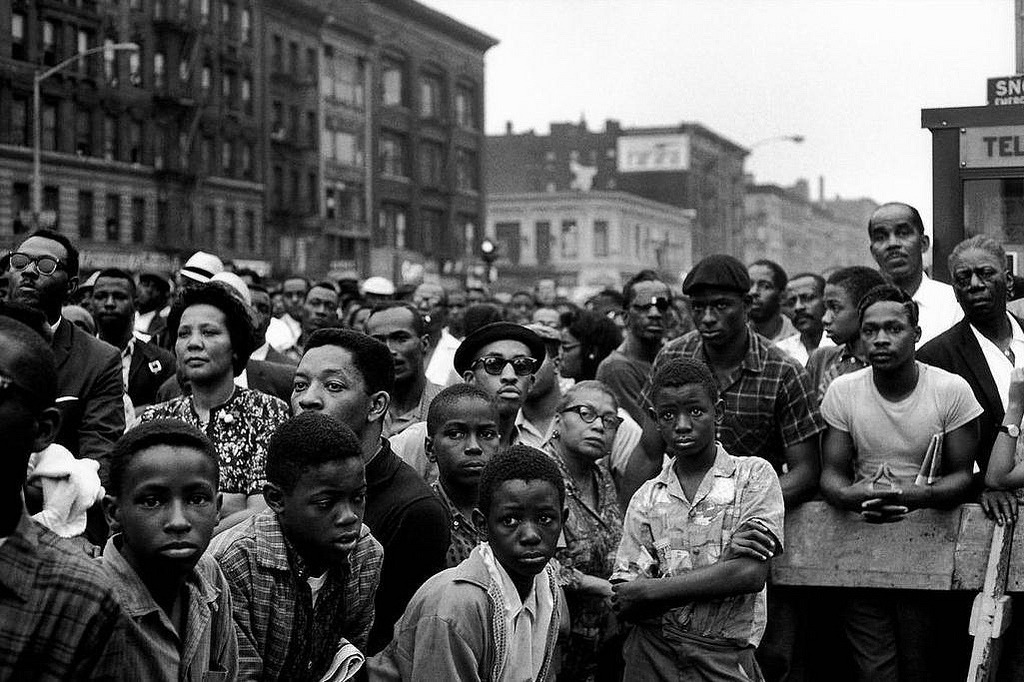 Malcolm X rally, Harlem, New York City 1963 by  Bruce Davidson