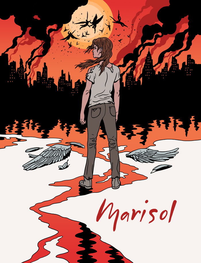 Poster for a theatre production of the apocalyptic play, 'Marisol.'