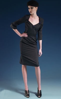 Lauren Dress Grey pinstripe lightweight wool dress with contrast silk taffeta lining