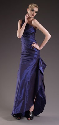 Sophia Dress Silk taffeta one shoulder long dress with tucks and pleat details.