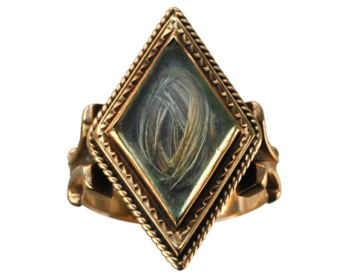 theoddmentemporium:  Diamond shaped mourning ring. c.1850s.