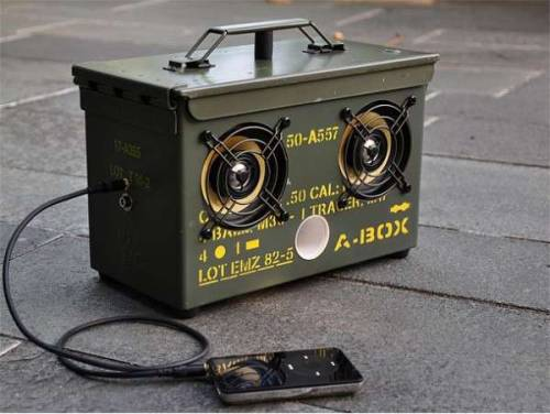 Ammo Can Speakers… Saw this a while back. I suppose if you find a used surplus ammo can, which there are a ton of for sale, this is a unique way to re-purpose it.  Badass…