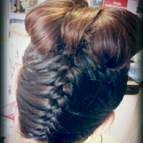 I did my friends #hair before I left work. #braid #hairstyles #hairbow (Taken with Instagram)