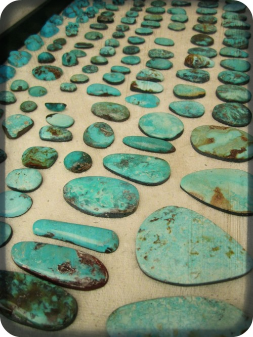 rejoicethehands:  in the studio:  vintage turquoise stones from various mines in the United States