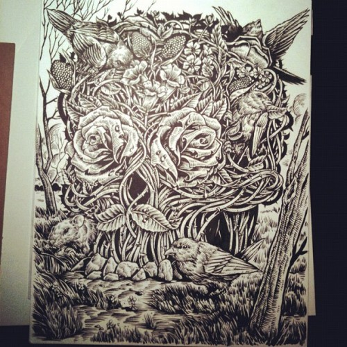 Finally done inking that piece.   (Taken with Instagram)