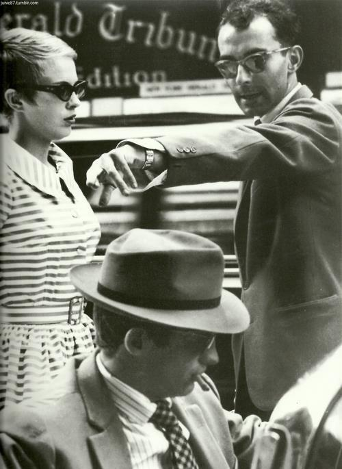 "mcsgsym:  Jean Seberg, Jean Paul Belmondo & Jean Luc Godard on the set ""Á bout de Souffle"", 1960"