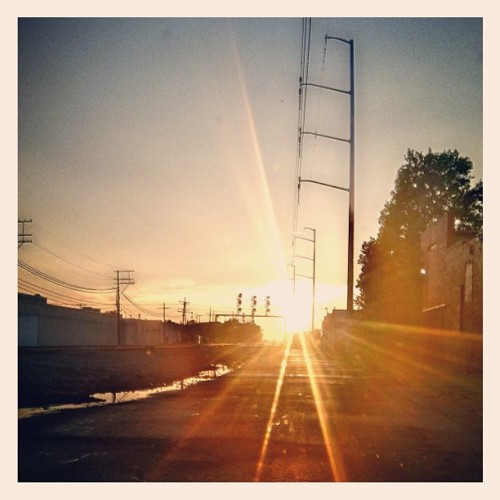 The sun sets on the other side of the tracks.  (Taken with Instagram)