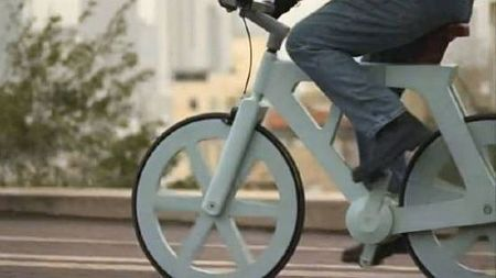 good:  Cycle on the Recycled: A $9 Cardboard Bike Set to Enter Production in Israel The last time your purchased something made entirely from cardboard, chances are it was a box to pack up your belongings. While the sturdy material is perfect for moving your stuff, an inventor from Israel has figured out a way to make cardboard move you.  Continue reading on good.is