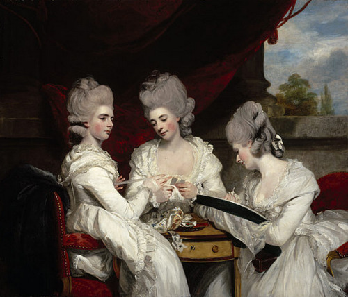 cavetocanvas:  Sir Joshua Reynolds, The Ladies Waldegrave, 1780 From the National Galleries of Scotland:  Reynolds was particularly skilled at choosing poses and actions which suggested a sitter's character and which also created a strong composition. Here, three sisters, the daughters of the 2nd Earl Waldegrave, are shown collaboratively working on a piece of needlework. The joint activity links the girls together. On the left, the eldest, Lady Charlotte, holds a skein of silk, which the middle sister, Lady Elizabeth, winds onto a card. On the right, the youngest, Lady Anna, works a tambour frame, using a hook to make lace on a taut net.