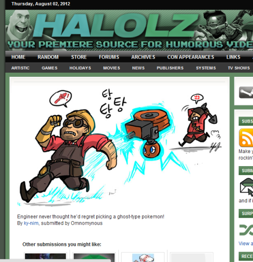 My rotom/TF2 fanart on Halolz This explains random viewership increase on deviantart…..