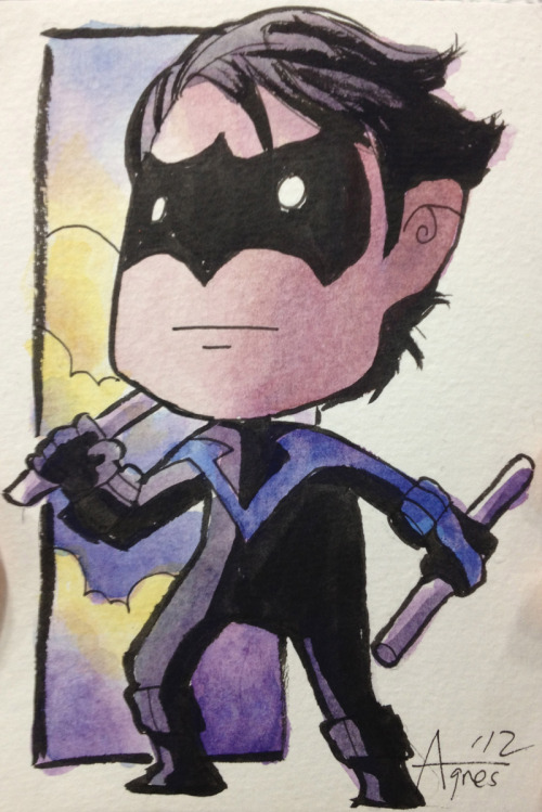 Nightwing postcard painted at SDCC. :)
