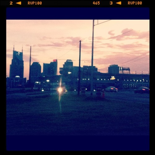 Nashville at sunset with the Nashville filter. Can't wait to see our friend @eamatt (Taken with Instagram)