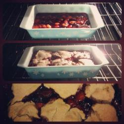 Scott and I made delicious Blackberry/Peach Cobbler last night, MmmHmmm!