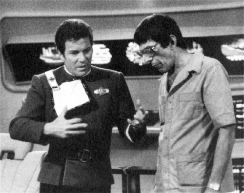 """Leonard once again thrilled with one of my suggestions."" William Shatner in Star Trek Movie Memories"
