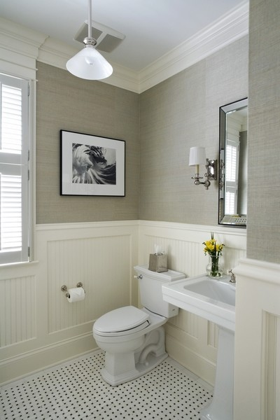Love the bead board, paneling, and tile work. An equally elegant and comfortable. Follow CollegeGuyDesign if you like things like this showing up on your dash! georgianadesign:  Winnetka residence traditional powder room, Chicago. Orren Pickell Designers & Builders.