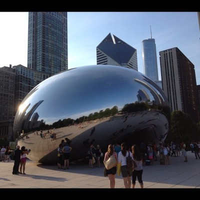The #one and only platinum bean in Chicago's Millennium Park. #photoadayaug  #day2 #one #nofilter  (Taken with Instagram)