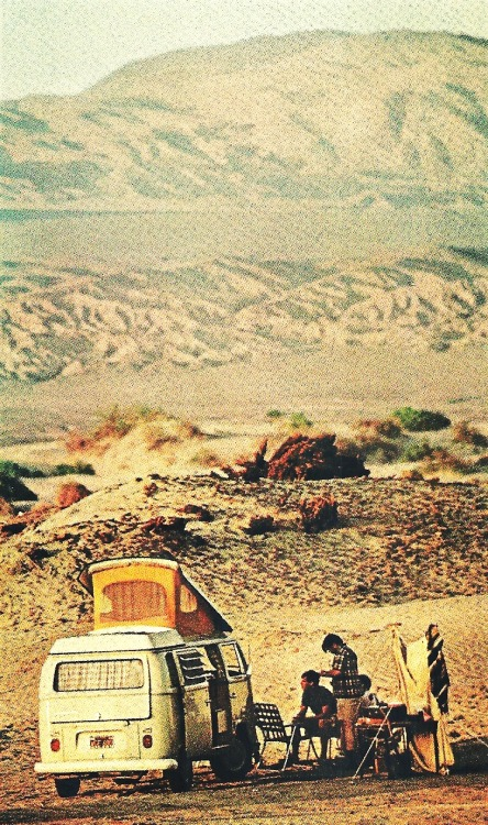 vintagenatgeographic:  Campers at Wildrose Canyon in Death Valley National Geographic | January 1970
