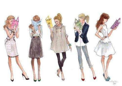 coccinellevoyage:  Reading is fashionable. Illustration by Sophie Louise.