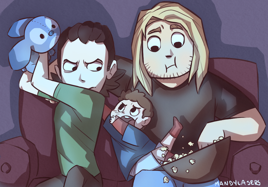 mandylasers:  I don't know I just wanted to draw Loki with his Stitch plush again… which is now Peter's because Loki is a good uncle. U wU