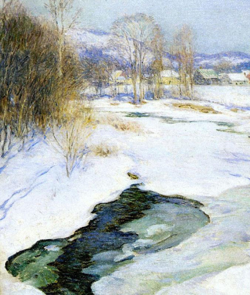 Icebound brook aka winter s mantle, Artist: Willard Metcalf