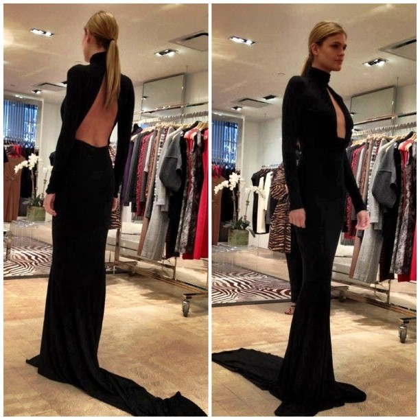 Fall/Winter 2012 Michael Kors #fashion #Kors #eveninggrown #black #blackdress #openback #ponytail #model #FW (Taken with Instagram)