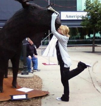 Ginger: Me kissing a moose made of nails at Art Prize a few years back .3.