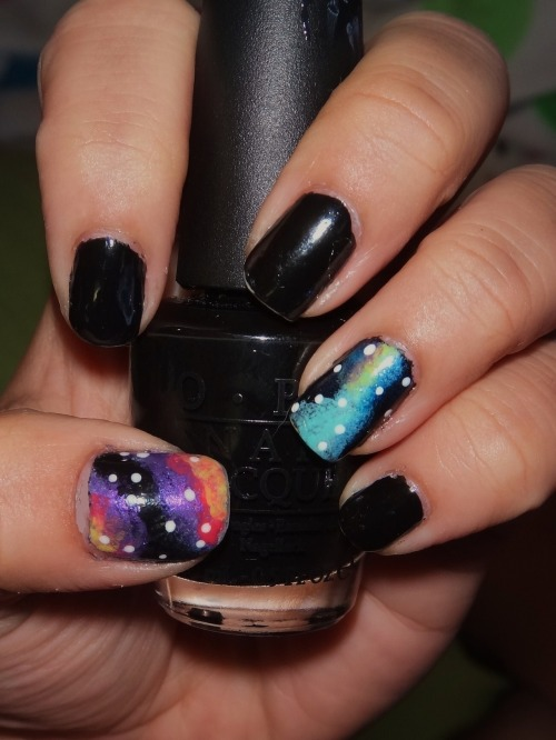 An Attempt at Outerspace/Galaxy nail art, using OPI's Black Onyx!Enjoy~! :)
