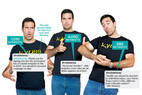 funnyordie:  Rob Delaney: Mitt Romney's Twitter Nemesis Businessweek profiles the presidential hopeful's chief tormentor on Twitter.
