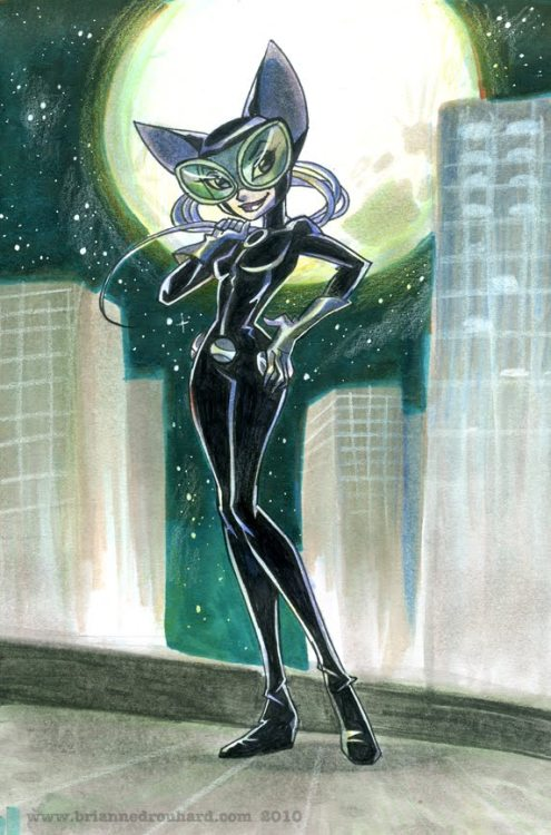 Catwoman on the prowl by Brianne Drouhard Brianne Drouhard is a veteran animator on TV series such as Ben 10, Batman: Brave and the Bold, Transformers: Animated, Avengers: Earth's Mightiest Heroes. Her new illustrated book is Billie the Unicorn (www.billietheunicorn.com), published by Immedium