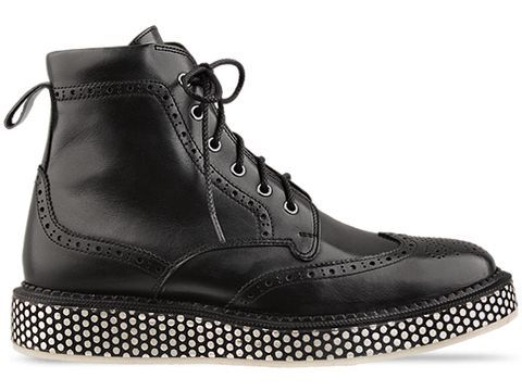Lace-up black leather wing-tips with a polka-dot sole. Made in Japan. Come here, rude boy.