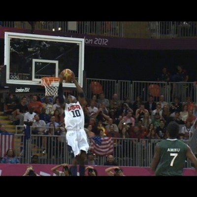 Kobe playing like he's 22 again w the double-pump reverse jam against Nigeria. His 14 1st qtr pts. set the tone for an 83 pt. blowout. All kinds of records set today by @usabasketball . Too many to mention! #teamusa #Olympics #london2012 #kobe  (Taken with Instagram)