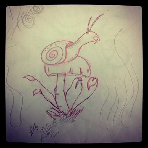 Process on snail #snails #mushrooms #art #sketch (Taken with Instagram)