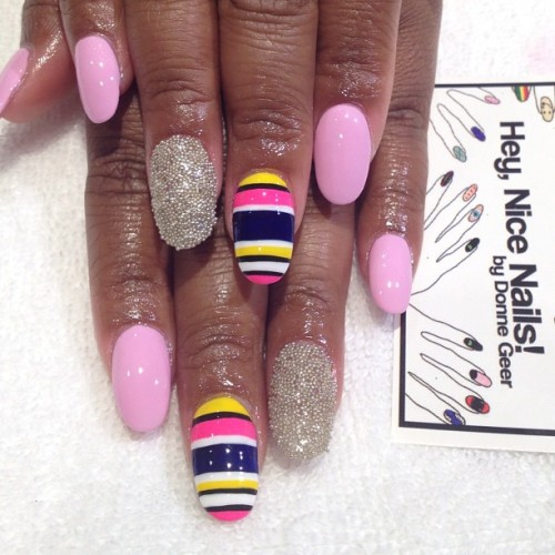 Caviar and stripes #nailart for @missbritt247  (Taken with Instagram)