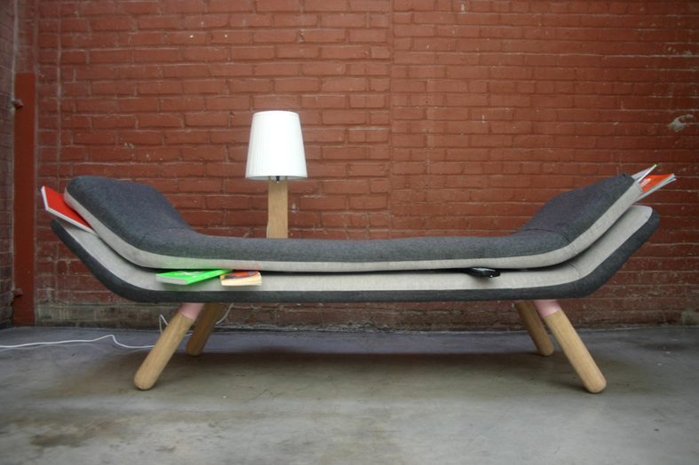 "Jam Sofa by Jess Fugler ""Inspired by the items that are always getting lost between the cushions, Jam allows you to purposefully store your objects where you want them. With a space between two cushions, one can insert objects of his or her desire or hide objects of his or her personal dismay."""