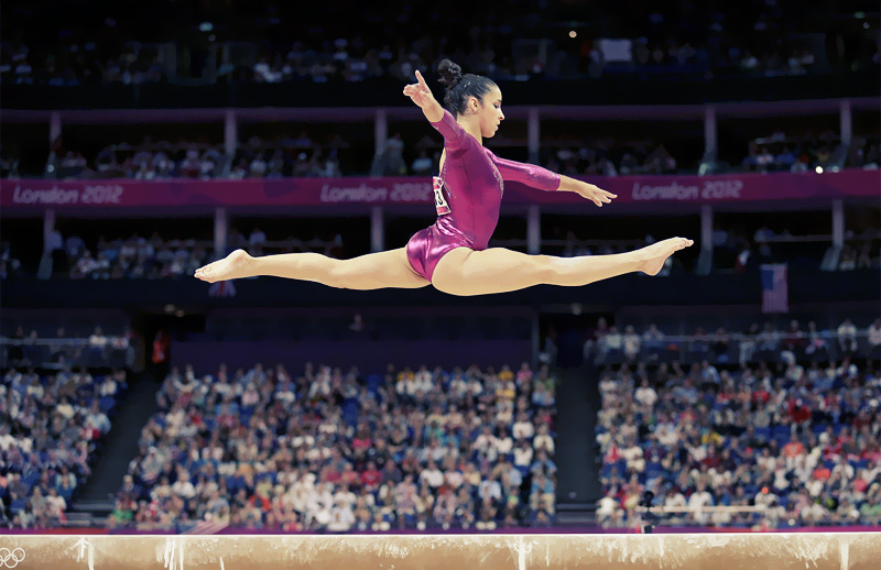OLYMPICS DAY 6 US gymnast Aly Raisman performs on the balance beam during gymnastics individual all-around Photo by Gregory Bull