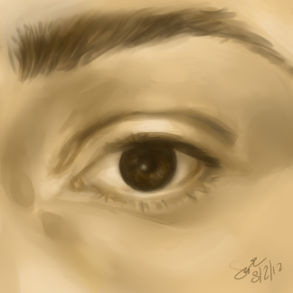 "Eye painting practice done after the warm-up I used my own eye as a reference :) This was fun, especially with the limits I put on myself. I only used a 5 color palette (1 off-white, 1 cream, tan/base color, dark brown, reddish black, and technically a burnt orange 6th color to lighten up some areas), and the ""water"" tool in Sai. (Time…about an hour and a half? PTSAI)"