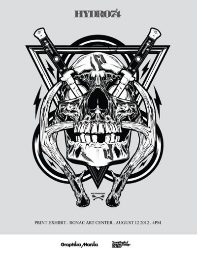 HYDRO74 PRINT EXHIBIT Happening on August 12, 2012 4PM RONAC ART CENTER Brought to you by Graphika Manila http://hydro74.com/http://dailygrindclothing.com/2012/08/hydro-74-exhibitronac-art-center/