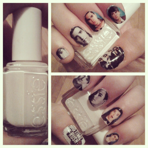 My Big Time Rush nails.   (printed on paper, white Essie basecoat)
