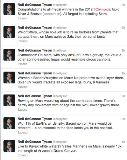 jtotheizzoe:  Neil deGrasse Tyson, Olympics Commentator Doin' his NdT thing for the Interplanetary Olympics of the year 2320 (or something). So much more awesomeness, as if he produced anything else, on his Twitter feed.  shuttlecock to the face