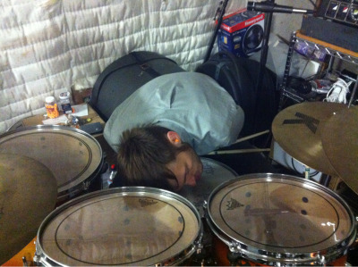 Chim is this excited to be playing drums right now.
