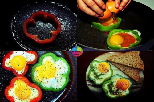fitvillains:  Breakfast Idea! Bell Pepper 'Egg In A Hole' These are awesome and crazy fast to make. Put the pepper on medium heat, flipping once, for 3-5 minutes, before adding your eggs. These make a great post workout snack too! :)