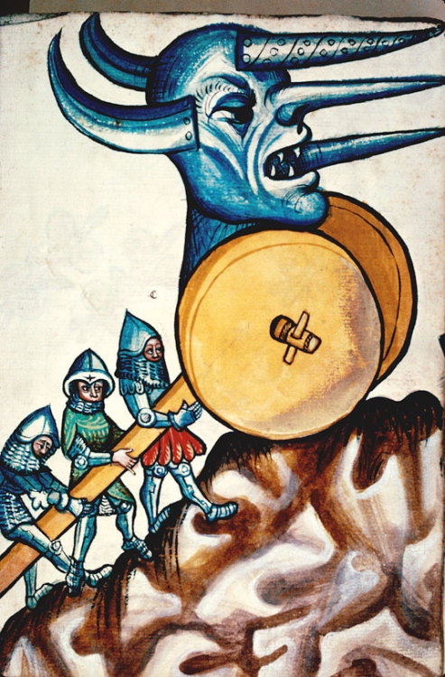 demonagerie:  Besançon - BM - ms. 1360, f. 010. Konrad Kyeser, Bellifortis. German, 1st half of the 15th century. Ribaudequin: A piece of heavy medieval artillery consisting of a number of cannon on a wheeled armed platform. Also applied to a type of powerful crossbow on a wheeled carriage, or fixed to the wall of a fort. [OED]  GROND! GROND! GROND! GROND! GROND!