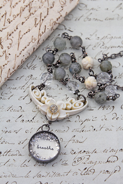 """Breathe"" cream and grey necklace by Beth Quinn."