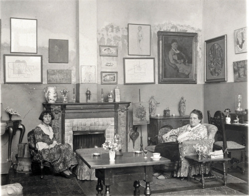 Alice B. Toklas and Gertrude Stein in their apartment