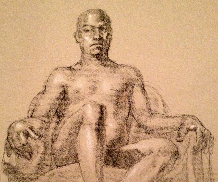 2 + Hours Intermediate Figure Drawing, Prof. Robert Revels, Summer Semester (2012) Conte Crayon, Wolf's Carbon Pencil, White Prisma Color Pencil