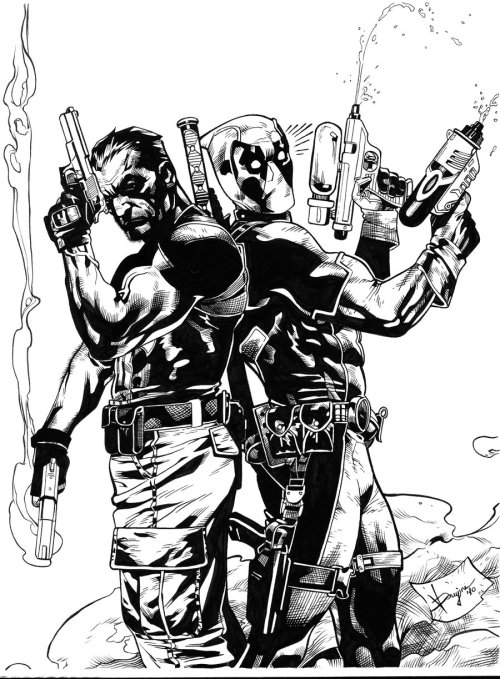 The Punisher & Deadpool // artwork by Victor Drujiniu (2012)