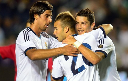 LA Galaxy vs Real Madrid. Jese's goal celebration with CR7 and Sami Khedira.