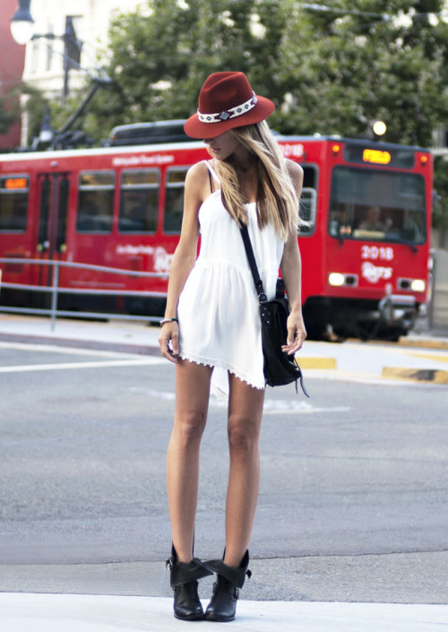passionforfashionval:  Slip dress and JC boots