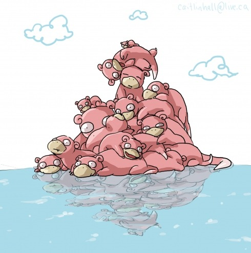 #079 Slowpoke Incredibly slow and dopey. It takes 5 seconds for it to feel pain when under attack. By: Caitlin Hall