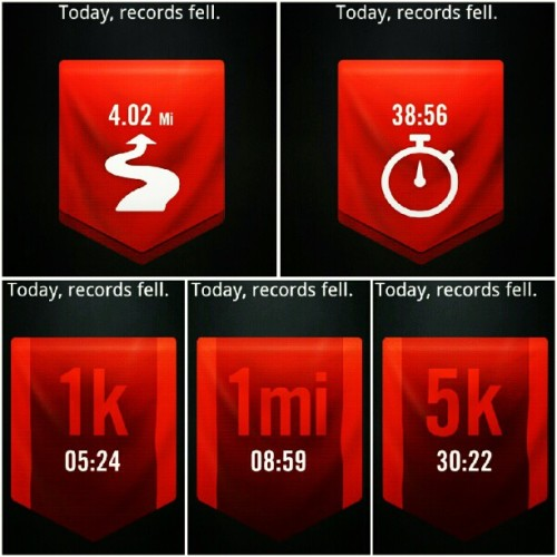 Having Nike+ has me motivated. Today, records fell!  #FarthestRun #LongestRun #Fastest1k #Fastest1mi #Fastest5k #nikeplus  (Taken with Instagram)